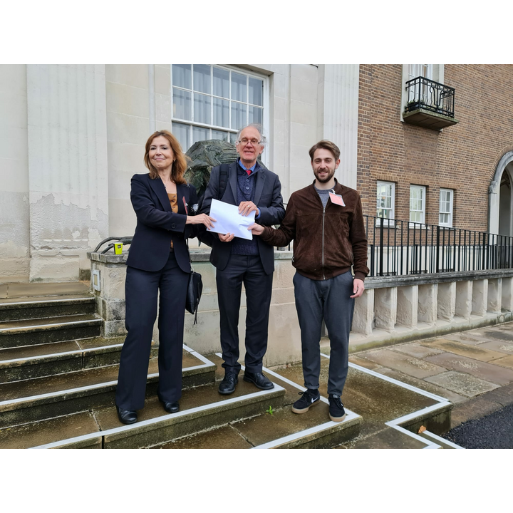 Cllrs Margaret Hofman, Chris Lloyd and Dominic Sokalski at County Hall with the petition